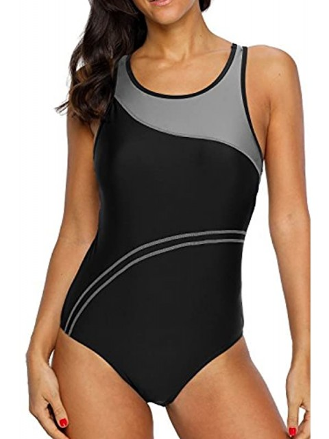 Women's One Piece Athletic Racerback Bathing Suit Color Block Swimsuit Gray