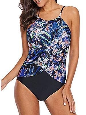 Women's Push up Padded Pattern Printed Tankini Two Piece Swimsuits Bathing Suit Swimwear(S-3XL)